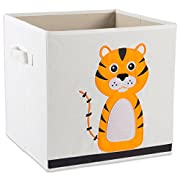 E-Living Store Collapsible Storage Bin Cube for Bedroom, Nursery, Playroom and More 13x13x13 - Tiger