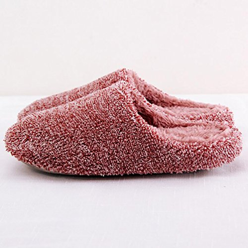 Baymate Unisex Cozy Plush Slip On House Slippers Warm Non-slip Footwear/Slipper Wine Red TCbbZ