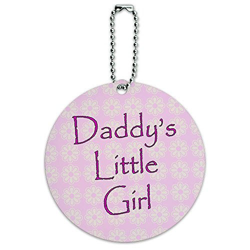 Daddy's Little Girl Pink with Flowers Round Luggage ID Tag Card Suitcase Carry-On