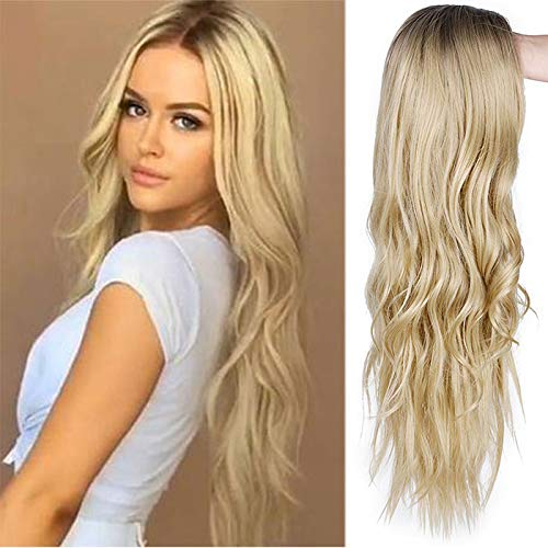 Beauty : Synthetic Ombre Ash Blonde Wig Long Curly Wavy Wig 28 Inch Middle Part Wig for Women 2 Tone Blonde Wig Full Curly Cosplay Wigs