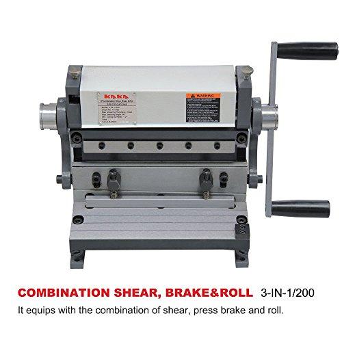 KAKA Industrial 3-In-1/200 Sheet Metal Brake, 8-Inch Shear Brake Roll Combinations, Solid Construction, Sheet Metal Brakes, Shears and Slip Roll Machine