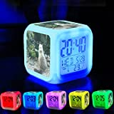 Alarm Clock 7 LED Color Changing Wake Up Bedroom with Data and Temperature Display (Changable Color) Customize the pattern-551. zoo cat mammals animal group meditation Buddha
