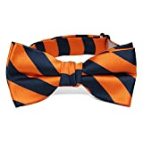 TieMart Boys' Navy Blue and Orange Striped Bow Tie