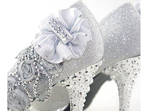 Getmorebeauty Mujer Plata Encaje Perlas De Flores Cerrados Dedos Zapatos De Boda Plata