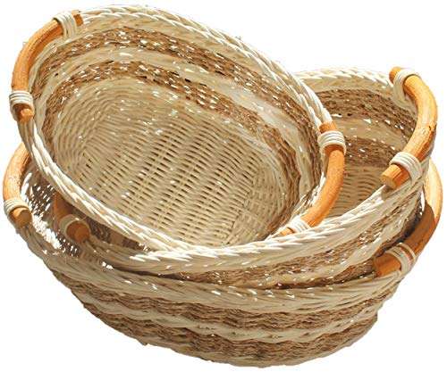 Wicker Bread - ShopOnNet RT450130-3 Handwoven Wicker Storage basket Curve Pole Handle in dual brown and sand (Set of 3)