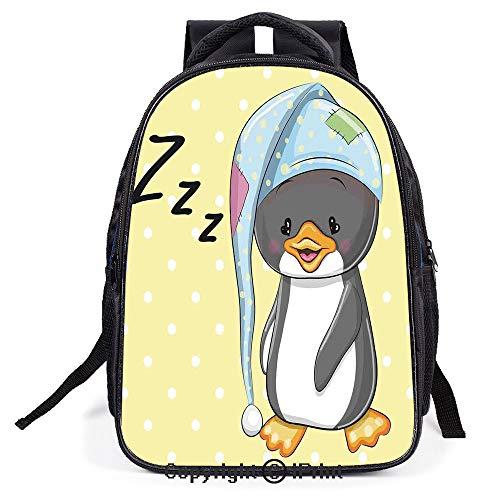 (School Bag,Sleepy Baby Penguin in Hood Ready to Bed Childhood Happy Dream Cartoon Art,Suitable for Kids,School Backpack,Travel Hiking Bag Backpack)
