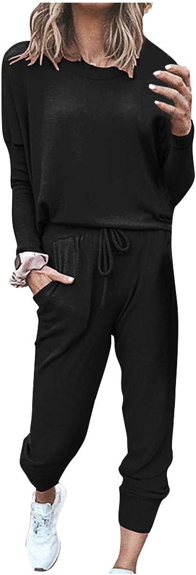 Women Tracksuit 2Pcs Leopard Print Hoodies Sweatshirt Top Pants Set Lounge Wear