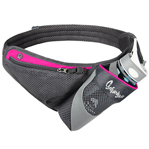 CyberDyer Running Belt Hydration Waist Pack with Water Bottle Holder for Men Women Waist Pouch Fanny Bag Reflective Fits iPhone 6/7 Plus (Rose)