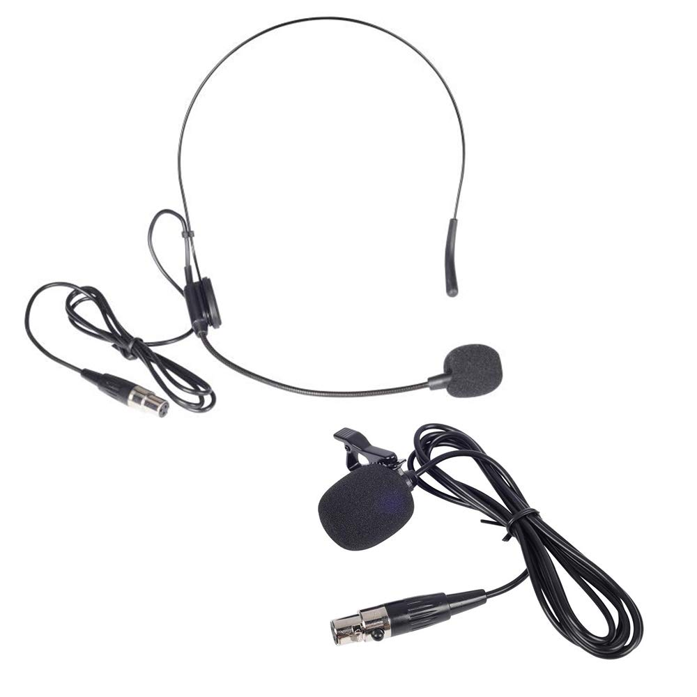 Phenyx Pro Lavalier Lapel Microphone/Headset Microphone Combo With Mini XLR Jack, Hand-free Clip-on Lapel Mic, And Flexible Wired Boom Headset Mic, For Voice Amplifier, Audio Sound System (Black) by Phenyx Pro