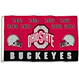 NCAA Ohio State Buckeyes Flag with Grommets, 3' x 5'/One Size, Team Color