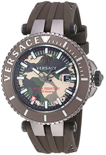 Versace Men's 'V-Race' Swiss Quartz Stainless Steel and Silicone Casual Watch, Color:Brown (Model: VAK060016)