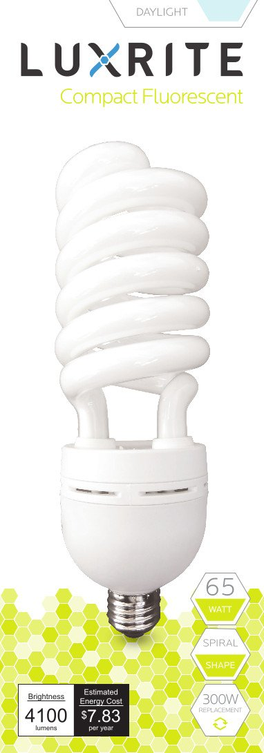 Luxrite LR20218 (12-Pack) 65-Watt High Wattage CFL Spiral Light Bulb, Equivalent To 300W Incandescent, Daylight 6500K, 4100 Lumens, E26 Standard Base