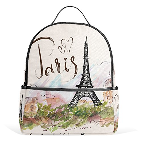 JSTEL Eiffel Tower School Backpack 4th 5th 6th Grade for Boys Teen Girls - Shopping Place Tower Water