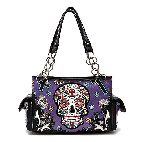 Sugar Skull Purse with Concealed Carry Pocket Day of The Dead Handbag, Purple (Skull Purse)