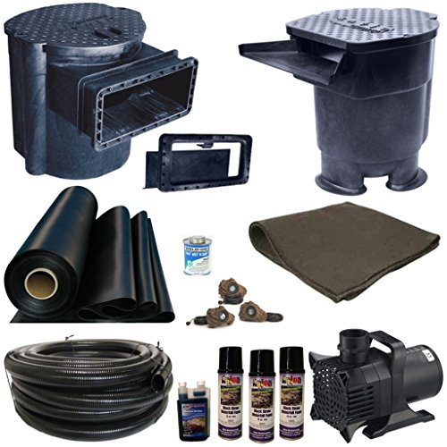 Half Off Ponds' XLS2 - 25 ft x 30 ft Extra Large Savio Pond Kit w/ 6,100 GPH Pump, Savio 22 Inch Livingponds Waterfall, & Skimmer w/ 16 Inch (16' Pond Kit)