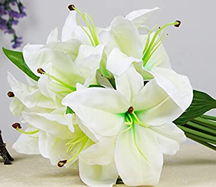 Amazon 1 bunch lot beautiful silk artificial plastic lily 1 bunch lot beautiful silk artificial plastic lily bouquet stargazer flower bouquet 8 flower mightylinksfo