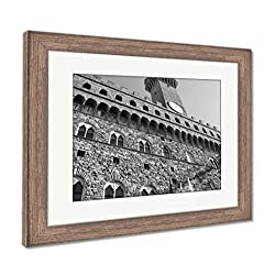 Ashley Framed Prints Florence Old Palace, Wall Art Home Decoration, Black/White, 26x30 (frame size), Rustic Barn Wood Frame, AG5586103