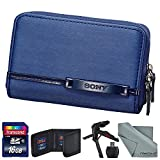Sony LCS-CSVF Soft Carrying Case (Blue) for Sony Cyber-Shot Digital Cameras + 16 GB SD Card + Memory Card Wallet + Table Top Tripod + SD Card Reade/Writer + Fibertique Cleaning Cloth