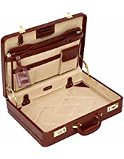 Tassia Medium Leather Briefcase - Luxury Suede Interior and Twin Combination Locks