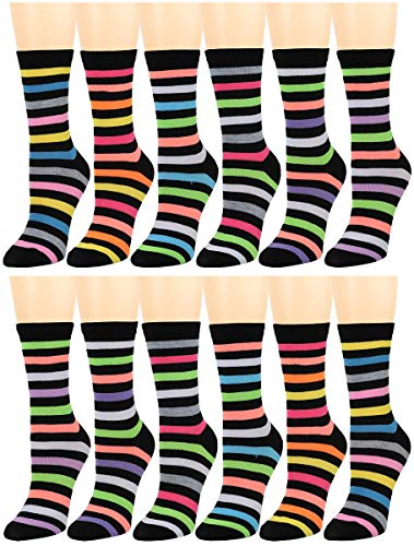 12 Pairs Women's Cotton Crew Socks Assorted Colors