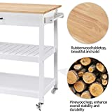 YAHEETECH Kitchen Island with Wheels, 3 Tier