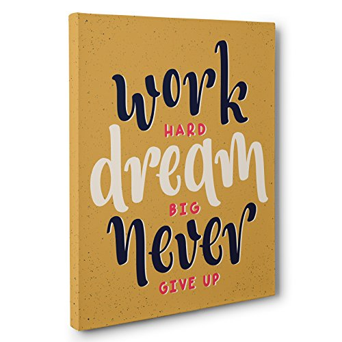 Work Hard Dream Big Motivational Quote White