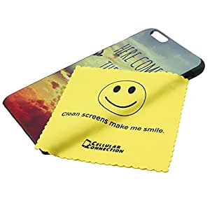 Here Comes the Sun + Cellular Connection Microfiber Cloth Cover Case for Apple Iphone 6 5.5 Inch - Black - Rubber Case (Laser Technology)