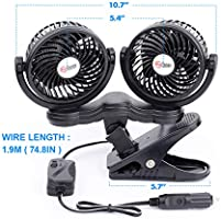 Ventilador usb Coche Portatil Electrico Silencioso 12V Mini Fan de 360 Grados Rotativo Velocidad ajustable 2 cabezas + mechero