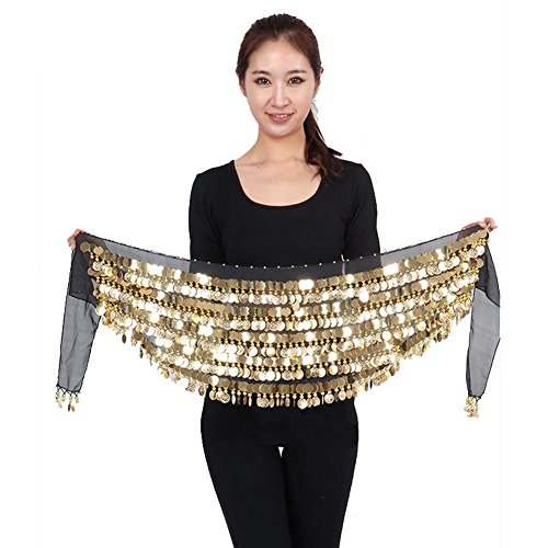 Saymequeen Chiffon Belly Dance Costume Waist Chain Hip Scarf Wrap Belt (black) (Plus Size Indian Fancy Dress)