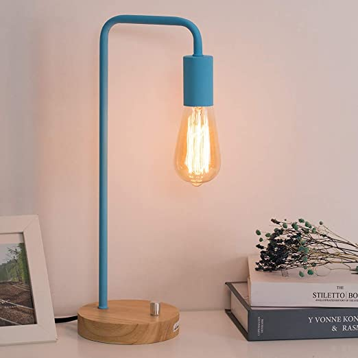 HAITRAL Bedside Desk Lamp - Modern Bedside Table Lamp, Stylish Industrial  Lamps for Bedrooms, Office, Girls Room, Dorm Room - Light Blue (Without ...