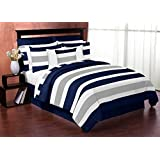 Sweet Jojo Designs 4-Piece Navy Blue, Gray and White Stripe Childrens, Teen Boys Twin Bedding Set Collection