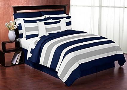 sweet jojo designs 4 piece navy blue gray and white stripe childrens teen - Boy Bedding