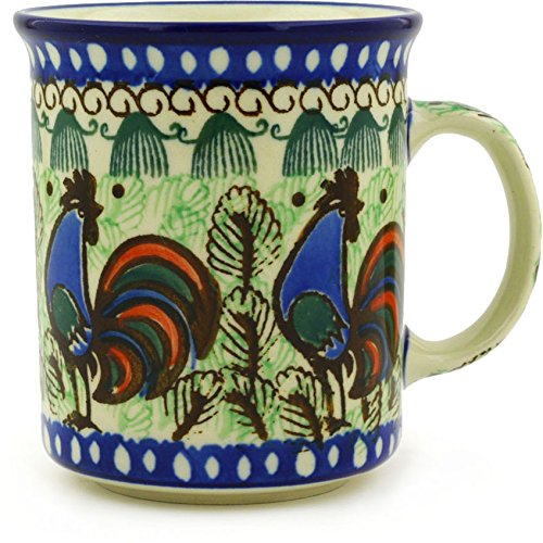 Polmedia Polish Pottery Polish Pottery 9 oz Mug made by Ceramika Artystyczna (Rooster Row Theme) Signature UNIKAT + Certificate of - Polish Rooster