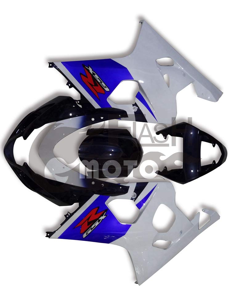 FlashMoto suzuki 鈴木 スズキ GSX-R600 GSX-R750 K4 2004 2005用フェアリング 塗装済 オートバイ用射出成型ABS樹脂ボディワークのフェアリングキットセット (ホワイト,ブルー)   B07MGRBZ1G