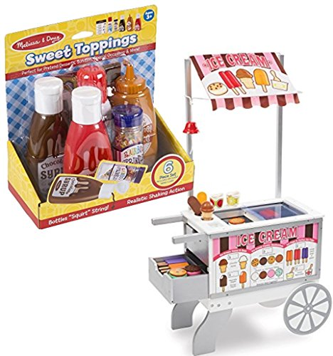 (Melissa & Doug Bundle Includes 2 Items Wooden Snacks and Sweets Food Cart - 40+ Play Food pcs, Reversible Awning Sweet Toppings Dessert Play Food Set)