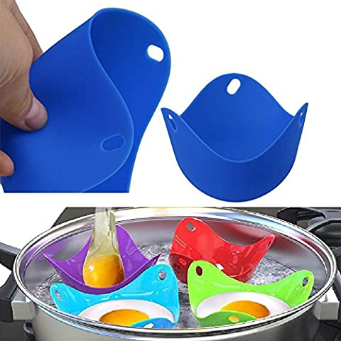 Botrong Random Color 4PCS Kitchen Silicone Egg Poacher Poaching Poach Cup Pods Mould - Simply Delicious Muffins
