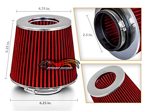 RED 2.5 63.5mm Inlet Cold Air Intake Cone Replacement Quality Dry Air Filter