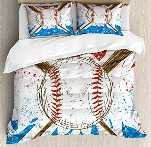 Boy's Room Duvet Cover Set Queen Size by Lunarable, Hand Drawn Baseball Bat and Ball on Grunge Colored Artistic Background, Decorative 3 Piece Bedding Set with 2 Pillow Shams, Ruby Blue Brown