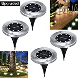 #4: Bokemar Solar Ground Lights Outdoor Decorative Garden Pathway Light 4 Pack Bright Garden Path Light Stainless Steel White LED Lighting for Yard Patio Walkway Driveway