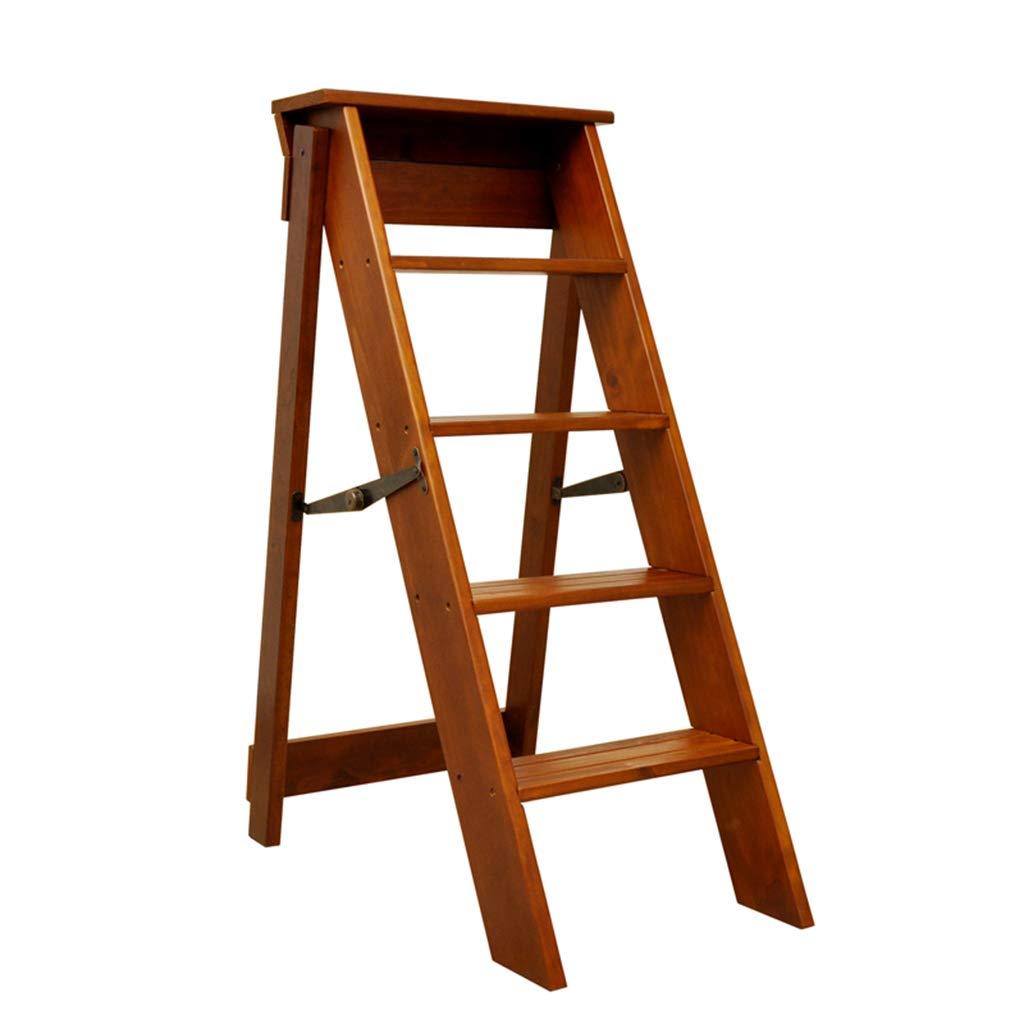 木製折りたたみ椅子5段はしごスツール多機能脚立/階段椅子はしご棚用キッチン/オフィス/図書館   B07RP13V97