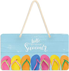 VIKKO Hello Summer Colored Flip Flop Door Sign PVC Front Door Plaque Hanger Holiday Decoration for Farmhouse Office Coffee Shop Bar, 6 X 11 Inch