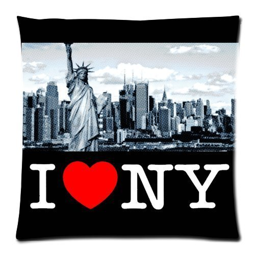 I Love NY New York City Statue of Liberty Custom Zippered Pillow Cushion Case Throw Pillow Covers 18