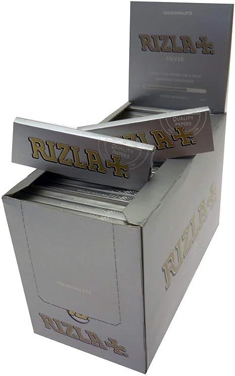 Caja de 100 paquetes de papel de liar 5000 papeles Rizla diseño gris plateado: Amazon.es: Deportes y aire libre