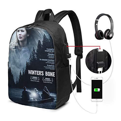 NA Black Winter's Bone Best Travel Black Backpack One Size Fit USB Backpack 17 in