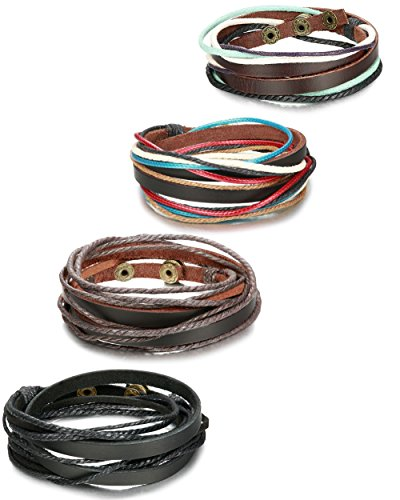 ORAZIO 4Pcs Leather Bracelet for Men Womens Rope Wrap Bangle Cuff Bracelet,7-8 Inches Adjustable