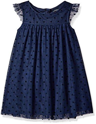 Nautica Little Girls' Toddler Tulle Dress with Flocked Dot, Navy, 2T (Toddler Fancy Dress)