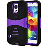 Galaxy S5 Case / S5 Neo Case, MagicMobile Hybrid Impact Rugged Shockproof Case for Galaxy S5 / S5 Neo Hard Armor Kickstand Shell Soft Silicone Skin [Black - Purple] Free Screen Protector and Stylus