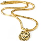 """Halukakah """"KINGS LANDING"""" Mens 18k Real Gold Plated 3D Lion Pendant Necklace,with FREE SharkTail Chain 30"""""""