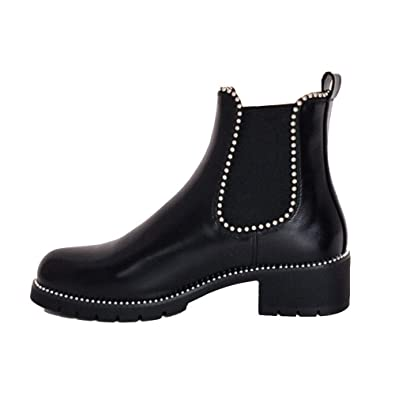 3653ae3c48936 Lily Lulu Fashion Woman s Shoes Chunky Studded Chelsea Ankle Boots Black   Amazon.co.uk  Shoes   Bags