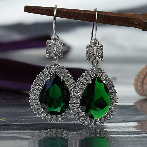 Turkish Sterling Silver Cushion Chrome Diopside Large Charm Earrings Victorian Jewelry